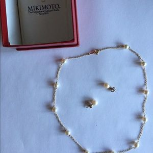 Mikimoto Pearl Necklace and Earring Combo.